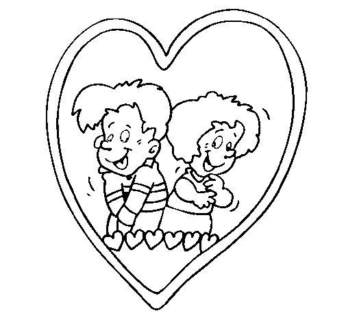 Coloriage de amoureux dans un c ur pour colorier - Un coeur amoureux ...