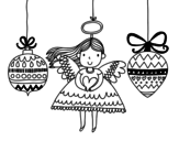 <span class='hidden-xs'>Coloriage de </span>Angel et ornements de Noël à colorier