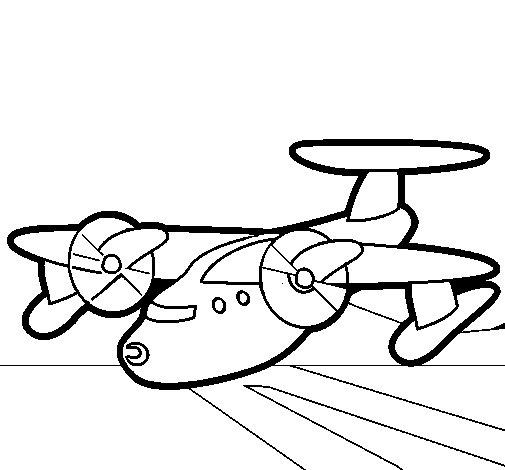 Coloriage de avion avec des pales pour colorier - Coloriage de avion ...