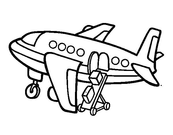 Coloriage Dans L Avion: Coloriage De Avion Transportant Bagages Pour Colorier