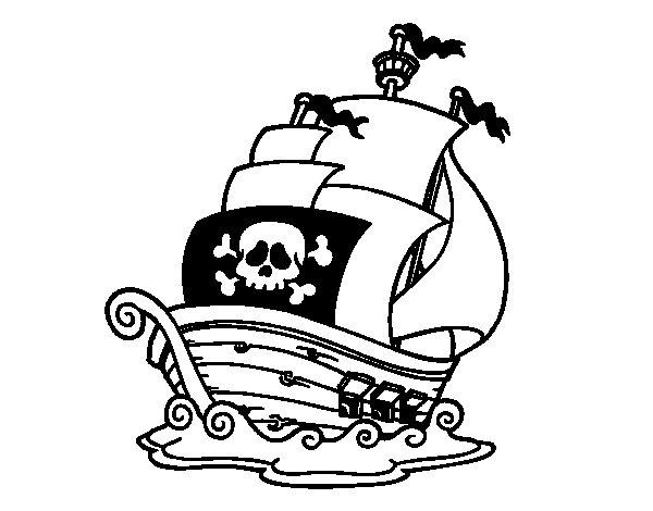Coloriage de bateau de pirates pour colorier - Bateau de pirate dessin ...
