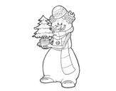 <span class='hidden-xs'>Coloriage de </span>Bonhomme de neige avec arbre de Noël à colorier