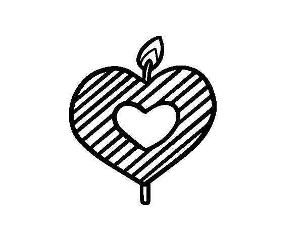 Coloriage de bougie en forme de c ur pour colorier - Dessin en forme de coeur ...