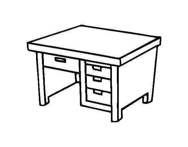 Coloriage de bureau avec tiroirs pour colorier for Bureau de dessin