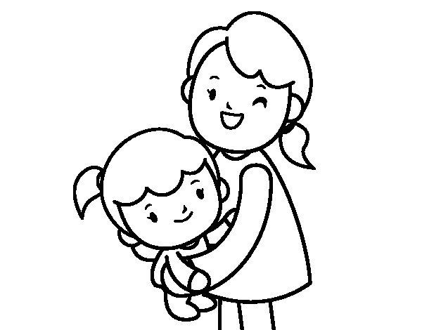 Coloriage de c lin avec maman pour colorier - Dessin de calin ...