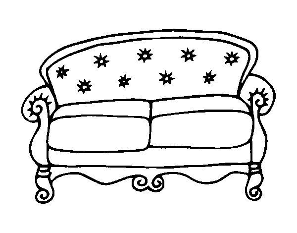 coloriage de canap chesterfield pour colorier. Black Bedroom Furniture Sets. Home Design Ideas