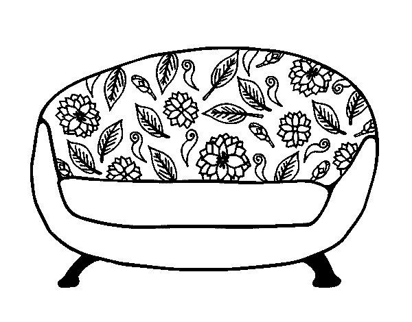 coloriage de canap vintage pour colorier. Black Bedroom Furniture Sets. Home Design Ideas
