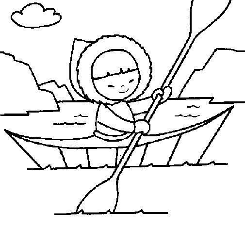Coloriage de cano esquimau pour colorier - Esquimau dessin ...