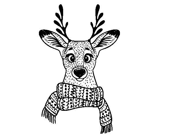 Coloriage de Cerf avec écharpe pour Colorier