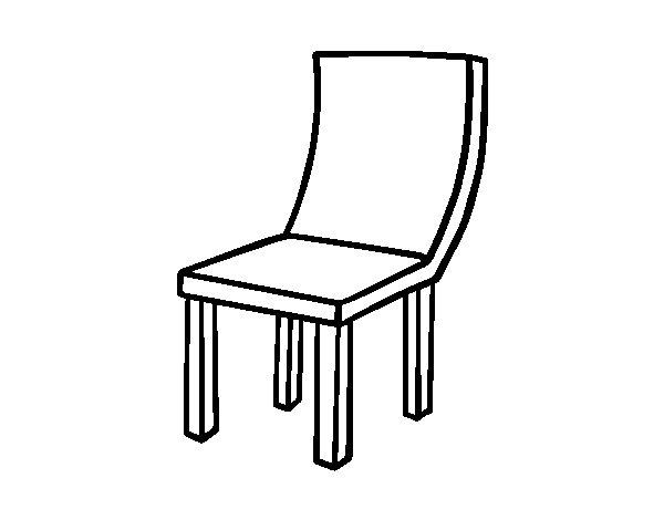Coloriage de chaise courbe pour colorier for Comedor para dibujar