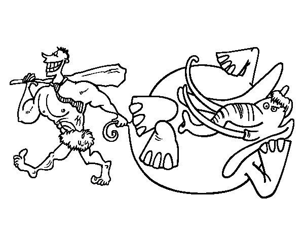 Coloriage de Chasse à l'éléphant pour Colorier
