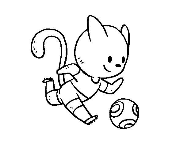 Coloriage de Chat Football pour Colorier