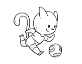 <span class='hidden-xs'>Coloriage de </span>Chat Football à colorier