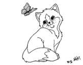 <span class='hidden-xs'>Coloriage de </span>Chaton et Papillon à colorier