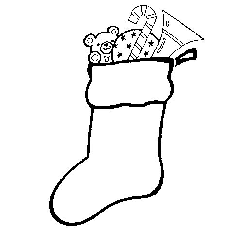 Coloriage de chaussette avec cadeaux pour colorier - Dessins cadeaux ...