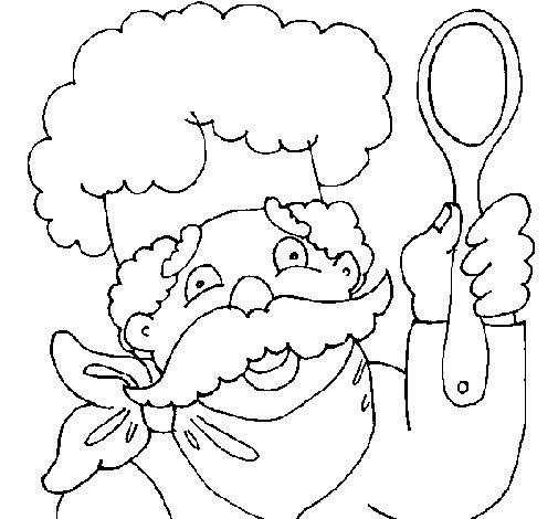 Coloriage de chef cuisinier moustachu pour colorier - Coloriage cuisinier ...