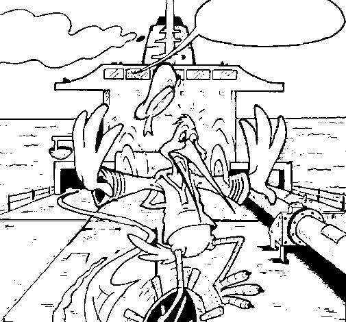 Coloriage de Cigogne sur un bateau pour Colorier