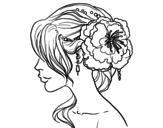 <span class='hidden-xs'>Coloriage de </span>Coiffure de mariage avec fleur à colorier