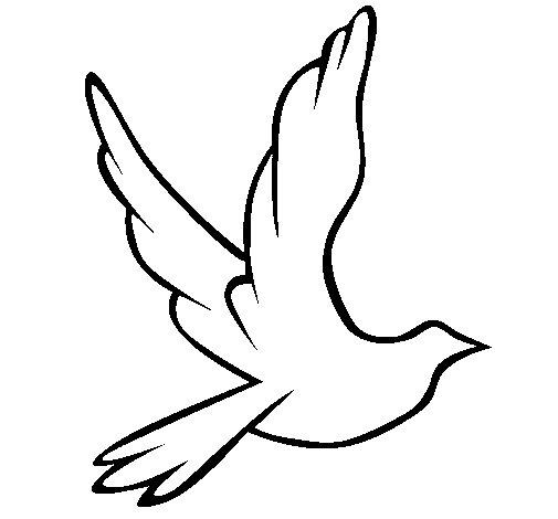 Coloriage de colombe de la paix en plein vol pour colorier - Coloriage colombe ...