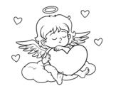 <span class='hidden-xs'>Coloriage de </span>Cupidon avec le coeur à colorier