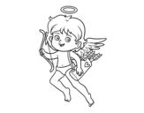 <span class='hidden-xs'>Coloriage de </span>Cupidon avec son arc magique à colorier