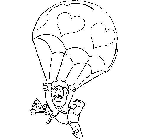 Coloriage de cupidon en parachute pour colorier - Dessin de cupidon ...