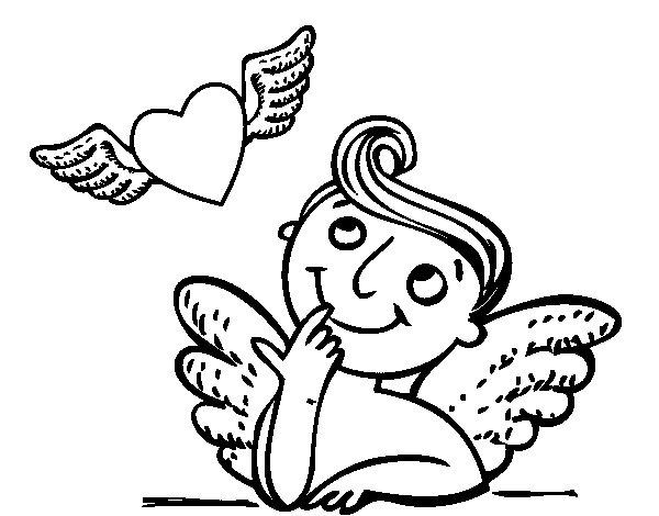 Coloriage de cupidon et c ur avec des ailes pour colorier - Dessin de cupidon ...