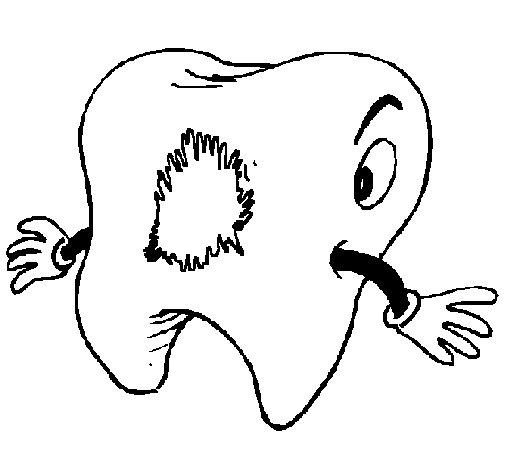 Coloriage de dent cari e pour colorier - Coloriage dent ...