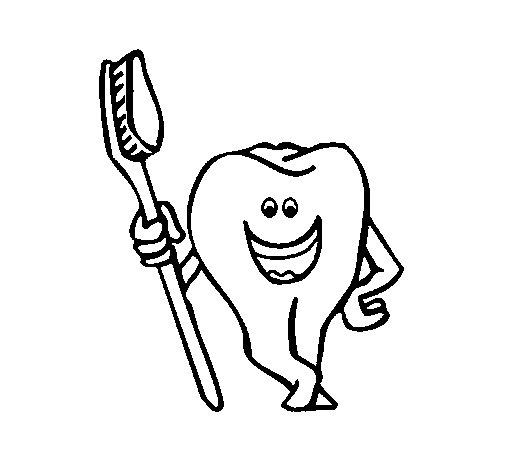 Coloriage de dent et brosse dents pour colorier - Coloriage dent ...