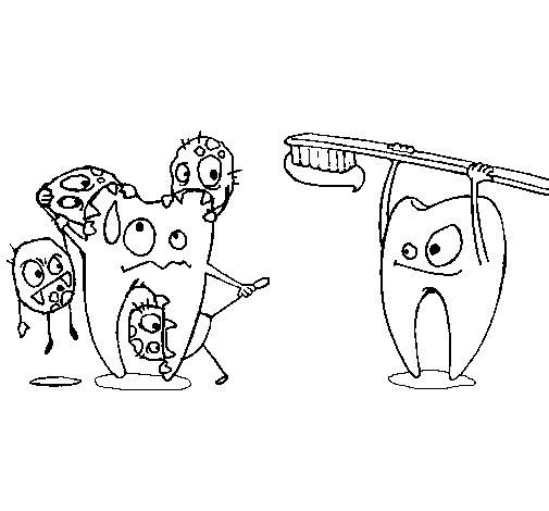 Coloriage de dent soign e pour colorier - Dessin de dent ...