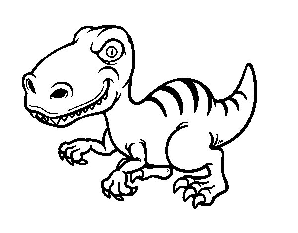 Coloriage de Dinosaure velociraptor pour Colorier