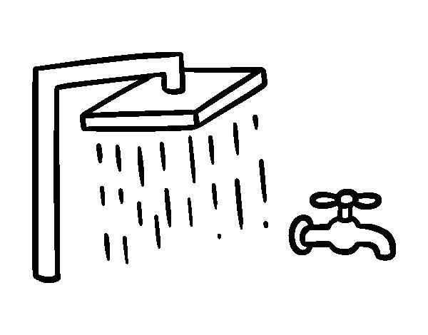 Coloriage de douche et mitigeur de baignoire pour colorier - Douche coloriage ...