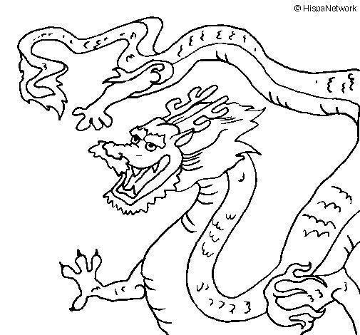 Coloriage de dragon chinois pour colorier - Dessins dragons chinois ...