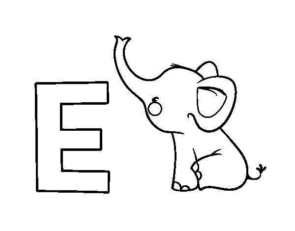Coloriage de E d'Éléphant pour Colorier