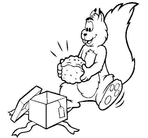Coloriage de Écureuil surpris pour Colorier