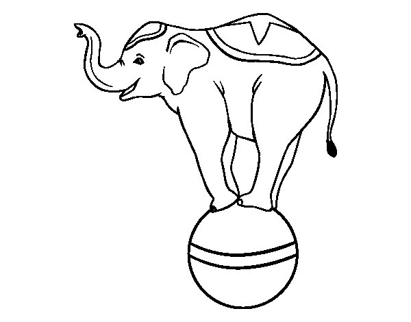 Coloriage de Éléphant équilibriste pour Colorier