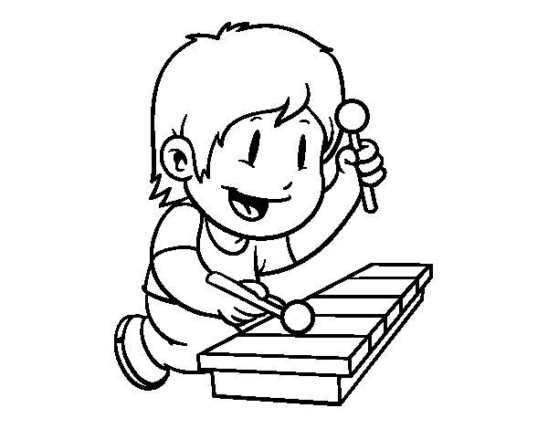 Niño Leyendo La Biblia Para Colorear: Coloriage De Enfant Avec Xylophone Pour Colorier