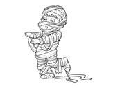 <span class='hidden-xs'>Coloriage de </span>Enfant habillé comme une momie à colorier