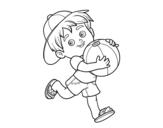 <span class='hidden-xs'>Coloriage de </span>Enfant jouant avec un ballon de plage à colorier