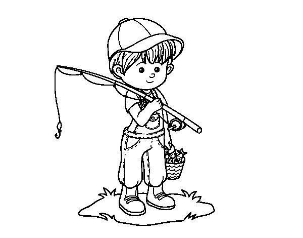 Coloriage de Enfant pêcheur pour Colorier