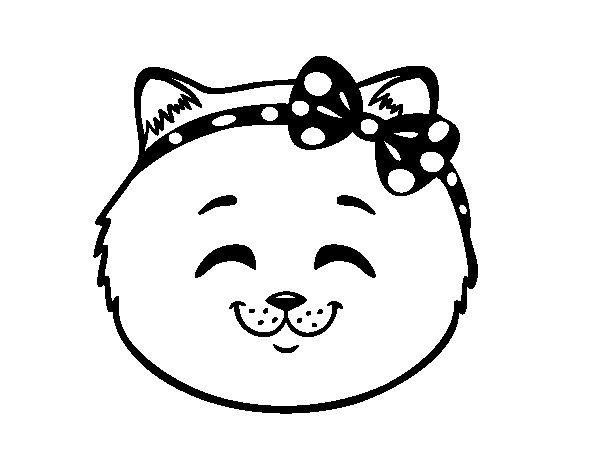 Coloriage de Face de petite chat content pour Colorier