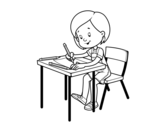<span class='hidden-xs'>Coloriage de </span>Fille à son bureau à colorier