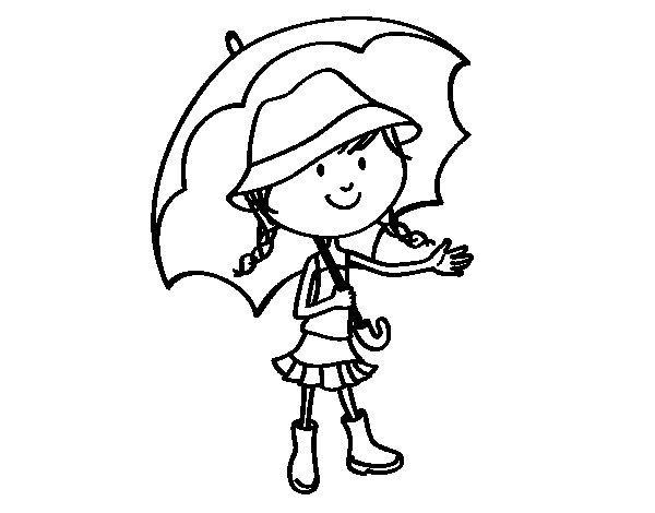 Coloriage Coin De Peinture: Coloriage De Fille Avec Parapluie Pour Colorier