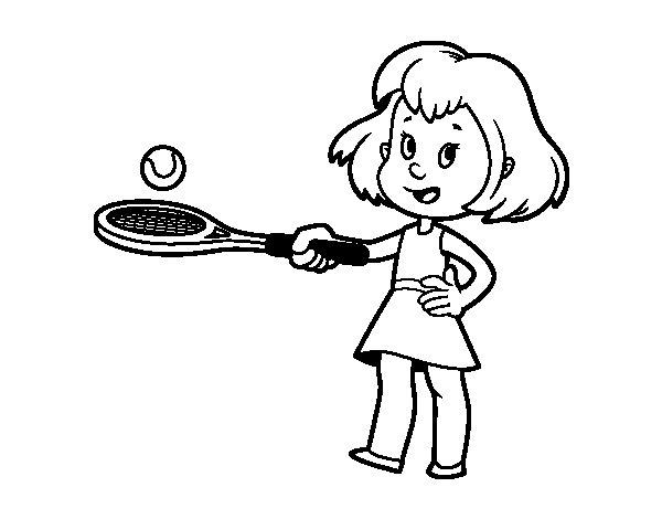 Coloriage de fille avec raquette pour colorier - Dessin raquette ...