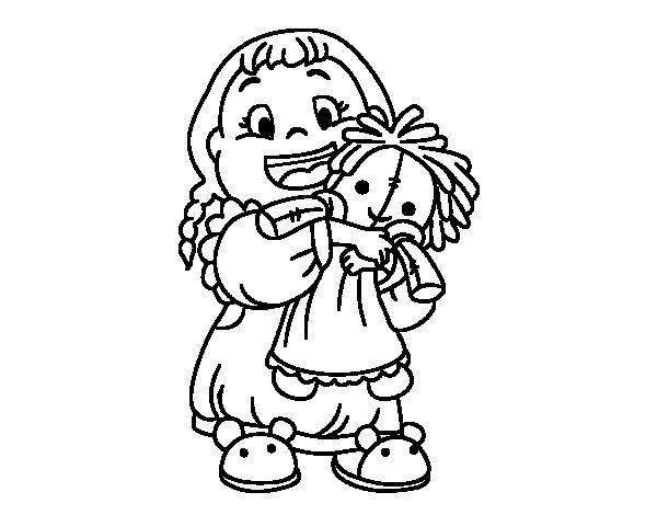 Coloriage de fillette avec son poup e pour colorier - Coloriage fillette ...