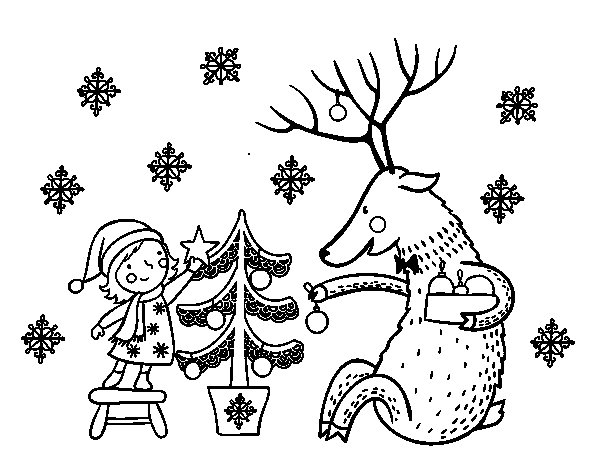 Coloriage de fillette jouant et renne pour colorier - Coloriage fillette ...