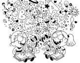 <span class='hidden-xs'>Coloriage de </span>Frères lecteurs à colorier