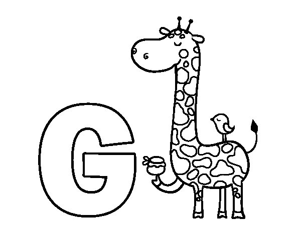 Coloriage de G de Girafe pour Colorier