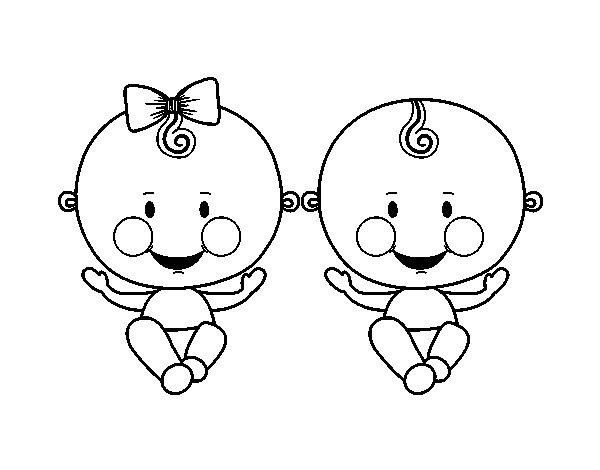 Coloriage de gar on et fille jumeaux pour colorier - Dessin fille et garcon ...