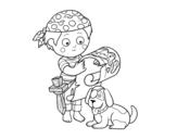 <span class='hidden-xs'>Coloriage de </span>Garçon pirate avec son chien à colorier